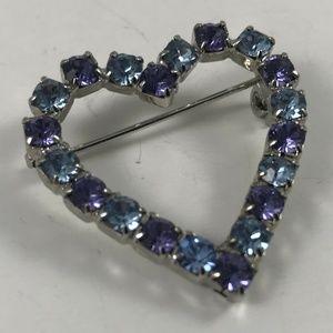 Vintage Faux Sapphire Heart Brooch, Heart Brooch